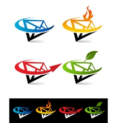 Swoosh envelope logo icons vector