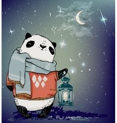 Cute winter panda bear vector