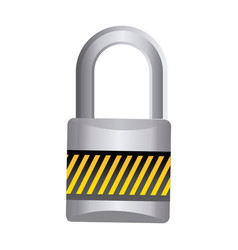 Metal padlock with striped colorful body and vector