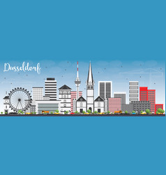 Dusseldorf skyline with gray buildings and blue vector