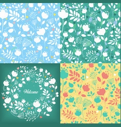 floral seamless and round patterns set vector image
