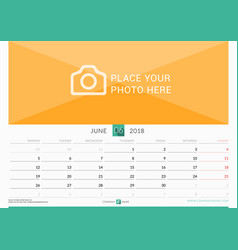 June 2018 wall monthly calendar for 2018 year vector