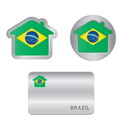 Home icon on the brazil flag vector