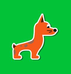 paper sticker on stylish background dog smiles vector image
