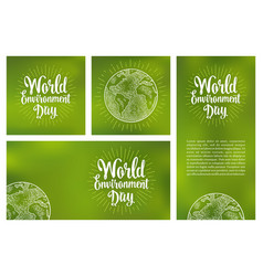 Set horizontal vertical square posters world vector