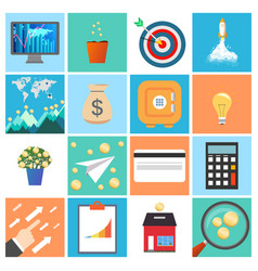 Business icon set collection of business money vector
