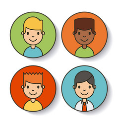 Icons set network people vector