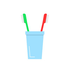 Tooth brushes in glass vector