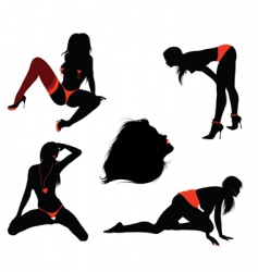 sexy girl silhouettes vector image
