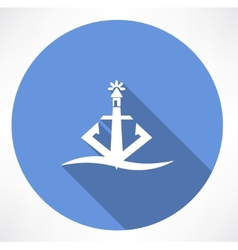 Anchor lighthouse icon vector