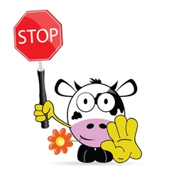 sweet and cute cow with sign stop vector image