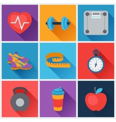Sports and fitness icons set in flat style vector