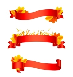Red autumn ribbons and banners vector