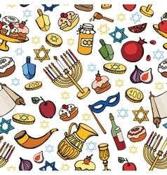 Hanukkah seamless patternDoodle Jewish Holiday vector image