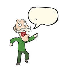 Cartoon frightened old man with speech bubble vector
