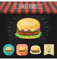 Double hamburger icon on a chalkboard set of vector