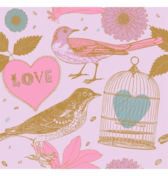 Vintage love birds pattern vector