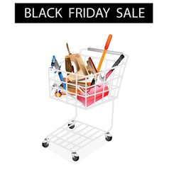 Auto repair tool kits black friday shopping cart vector