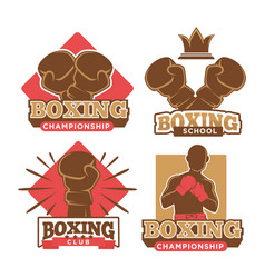 boxing championship sport school and private club vector image vector image