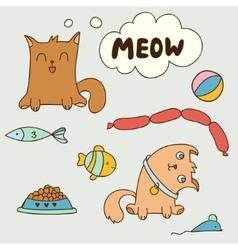 Cartoon cute domestic kittens vector image
