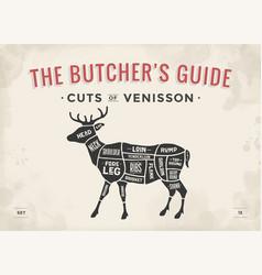 Cut of meat set poster butcher diagram scheme - vector
