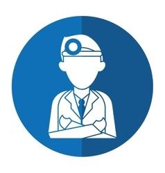 Doctor crossed arms wearing head mirror medical vector