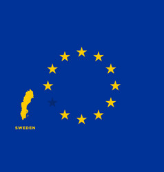 Eu flag with sweden country european union vector