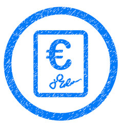 Euro contract rounded icon rubber stamp vector