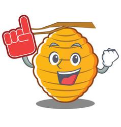 Foam finger bee hive character cartoon vector