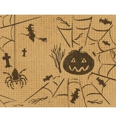 Halloween sketch design set on retro grunge vector image