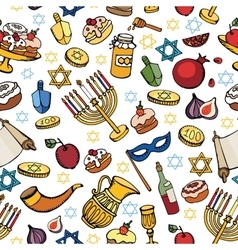 Hanukkah seamless patterndoodle jewish holiday vector