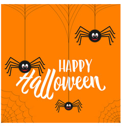 happy halloween greeting card with smiling spiders vector image vector image