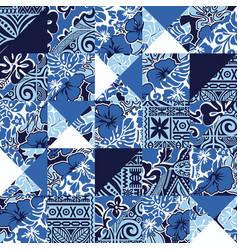 Hawaiian vintage hibiscus fabric patchwork vector