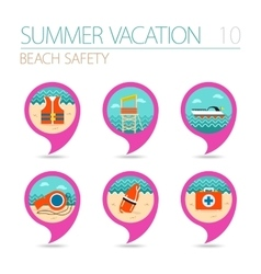 Lifeguard beach safety pin map icon set vacation vector