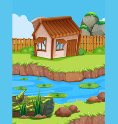 Little hut by the river vector