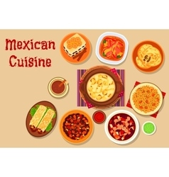 Mexican cuisine dishes icon for menu design vector