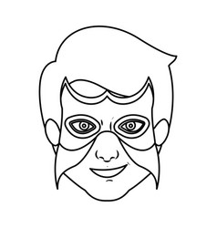 Monochrome silhouette with man superhero with mask vector