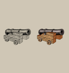 old cannon on a carriage hand drawn vector image