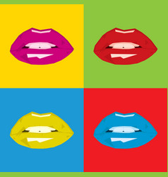 Pop art polygonal woman lips vector