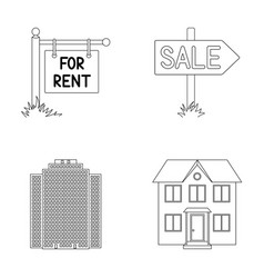 Signs of sale and rent a skyscraper a two-story vector