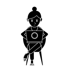 Silhouette beutiful girl using laptop sitting vector