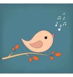 Simple card of funny cartoon bird on branch vector