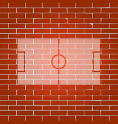 soccer field whitish icon on brick wall vector image vector image