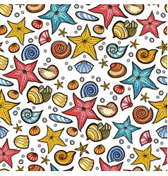 Starfish shell seamless pattern vector