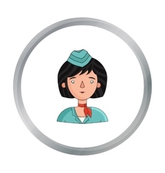 Stewardess icon in cartoon style isolated on white vector