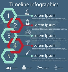 timeline infographics with medical icons vector image vector image