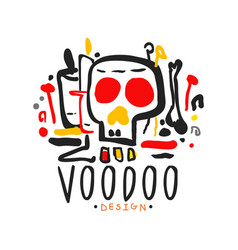 Voodoo african and american magic logo with mystic vector