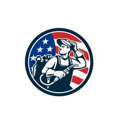 Welder looking side usa flag circle retro vector