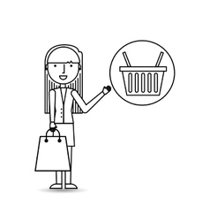 Drawing girl shopping with basket buy vector