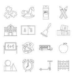 Kindergarten symbol icons set outline style vector
